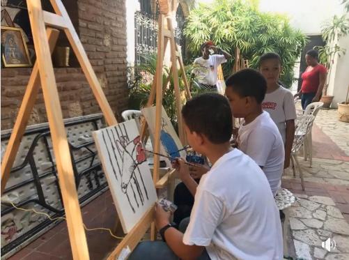 Clases en el taller de pintura